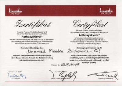 Certyfikat wydany przez Pana Profesora Zbigniewa Rybaka